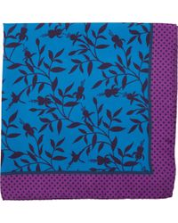 Duchamp - Dark Floral Print Pocket Square - Lyst