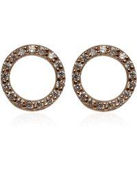 Kismet by Milka - Rose Gold Diamond Circle Earrings - Lyst