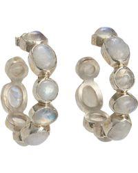 Sandra Dini - Moonstone Hoop Earrings - Lyst