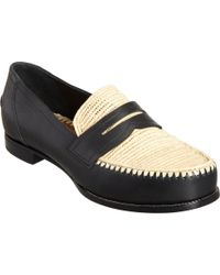 Bottega Veneta Strawdetailed Penny Loafer - Lyst