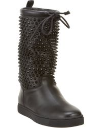 Christian Louboutin Surlapony Spiked Boots - Lyst