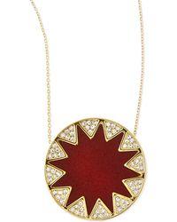 House of Harlow 1960 - Sunburst Medium Pav Pendant Necklace Cranberry - Lyst
