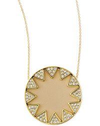 House of Harlow 1960 - Sunburst Medium Pav Pendant Necklace Cream - Lyst