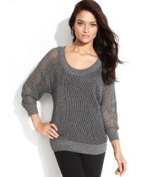Inc International Concepts Metallic Fishnet Knit Sweater - Lyst