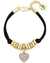 Juicy Couture - Goldtone Pave Heart Black Corded Bracelet - Lyst