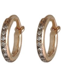 Ileana Makri - Champagne Diamond & Pink Gold Mini Hoops - Lyst