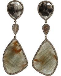 Monique Pean Atelier - Opaque Grey Diamond & Sapphire Earrings - Lyst