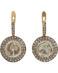 Munnu - Round Cut Diamond Drop Earrings - Lyst