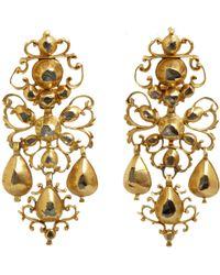 Olivia Collings - Diamond Filigree Bow Drop Earrings - Lyst