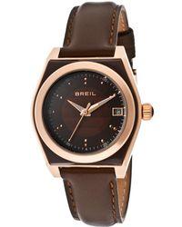 Breil - Womens Escape Brown Dial Brown Genuine Leather M Watch - Lyst