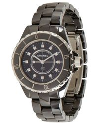 Chanel Black Ceramic and Diamond J12 Classic Watch - Lyst