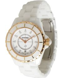 Chanel White and Gold Ceramic J12 Classic Flat Second Diamond Watch - Lyst