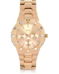 Guess - Rose Gold Tone Stainless Steel Womens Watch - Lyst