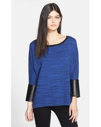 Trouvé  Faux Leather Trim Marled Sweater - Lyst