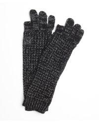 Vince Camuto - Black Lurex Blend Tuck Stitch Gloves - Lyst