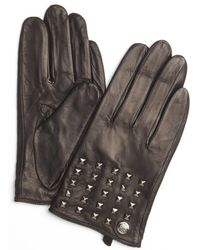 Vince Camuto - Black Pyramid Studded Leather Gloves - Lyst