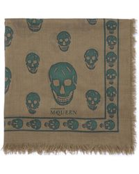 Alexander McQueen Skull-Print Frayed Scarf - Lyst