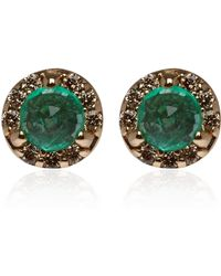 Anna Sheffield - Tiny Gold Emerald and Diamond Rosette Stud Earrings - Lyst