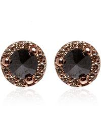 Anna Sheffield - Tiny Rose Gold Diamond Rosette Stud Earrings - Lyst