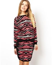 Asos Sweater In Bright Animal - Lyst