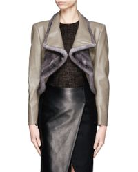 Bibhu Mohapatra Mink Fur Trimmed Draped Front Cropped Leather Jacket - Lyst