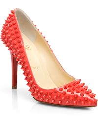 Christian Louboutin Pigalle 100 Spiked Patent Leather Pumps - Lyst