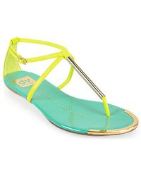Dolce Vita - Archer Teal and Yellow Leather T Strap Sandal - Lyst
