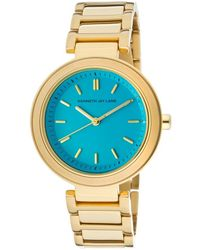 Kenneth Jay Lane - Womens Blue Dial Gold Tone Ion Plated Stainless Steel Kjlane Watch - Lyst