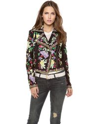 Marchesa Voyage - Embroidered Motorcycle Jacket - Lyst