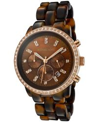 Michael Kors Womens Chronograph White Swarovski Crystal Brown Tortoise Shell Plastic Mkors Watch - Lyst