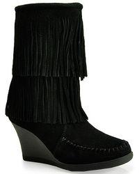 Minnetonka   84030 - Suede Fringe Wedge Boot   Lyst