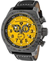 Swiss Legend - Mens Sl Pilot Chronograph Yellow Dial Black Leather - Lyst