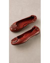 Tory Burch Leather Logo Reva Ballet Flat - Lyst