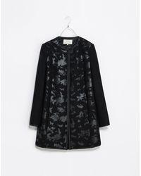 Zara Black Fantasy Coat - Lyst