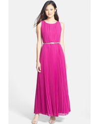 Eliza J Pleated Belted Maxi Dress - Lyst