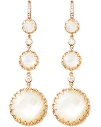 Ivanka Trump - Long Rose Gold Mother-of-pearl Drop Earrings With Diamonds - Lyst