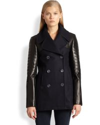 La Maison Roadsea Leather-Sleeved Double-Breasted Coat blue - Lyst