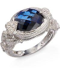 Judith Ripka White Sapphire Blue Stone Sterling Silver Ring - Lyst