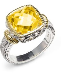Judith Ripka | Sterling Silver 18k Yellow Gold Faceted Ring | Lyst