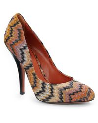 Missoni Zigzag Knit Leather Roundtoe Pumps - Lyst