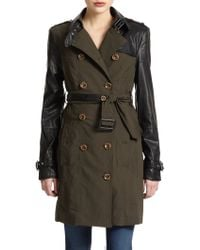 W118 by Walter Baker - Theo Mixed Media Trench Coat - Lyst
