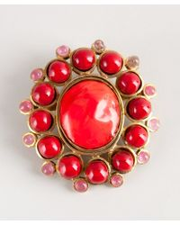 Chanel Pre-Owned: Coral Beaded Vintage Pin - Lyst