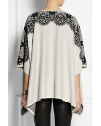 Alice By Temperley | Wisp Lace-intarsia Cotton Poncho | Lyst