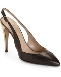 Calvin Klein Issa Leather Slingback Pumps - Lyst