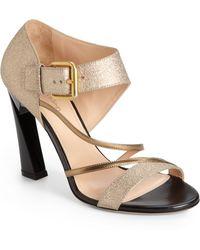 Calvin Klein Vanessa Hammered Metallic Leather Strappy Sandals - Lyst