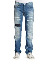 Just Cavalli Patch Detail Distressed Straightleg Jeans - Lyst