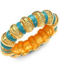 Kenneth Jay Lane Enamel Ribbed Bracelet Turquoise - Lyst