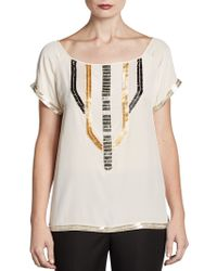 Madison Marcus Beaded Silk Top - Lyst