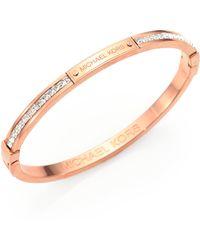 Michael Kors Studded PavÉ Bangle Bracelet/Rose Goldtone - Lyst