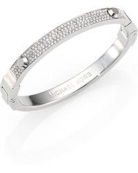 Michael Kors Studded PavÉ Bangle Bracelet/Silvertone - Lyst